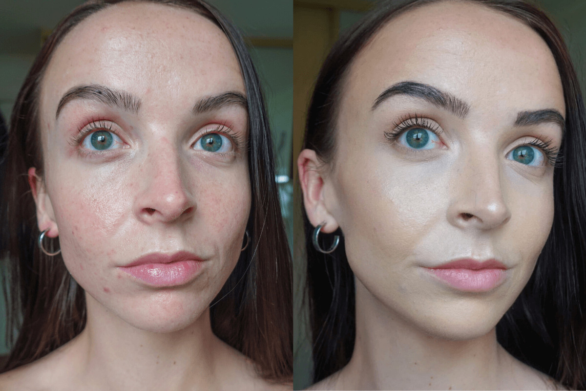 Before and after bareMinerals barepro foundation