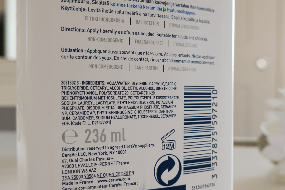 Cerave Moisturising Lotion ingredients list